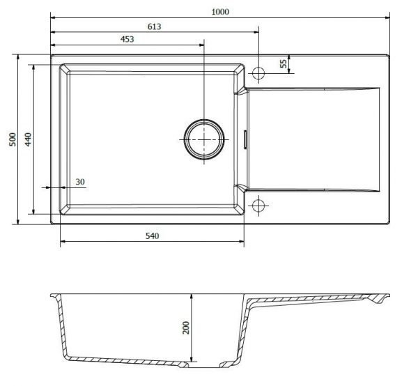 Reginox Amsterdam 540 Grey Silvery R30813 Spoelbak Graniet Opbouw