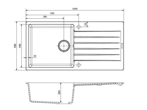Reginox Harlem 10 Black Silvery R31254 Spoelbak Graniet Opbouw