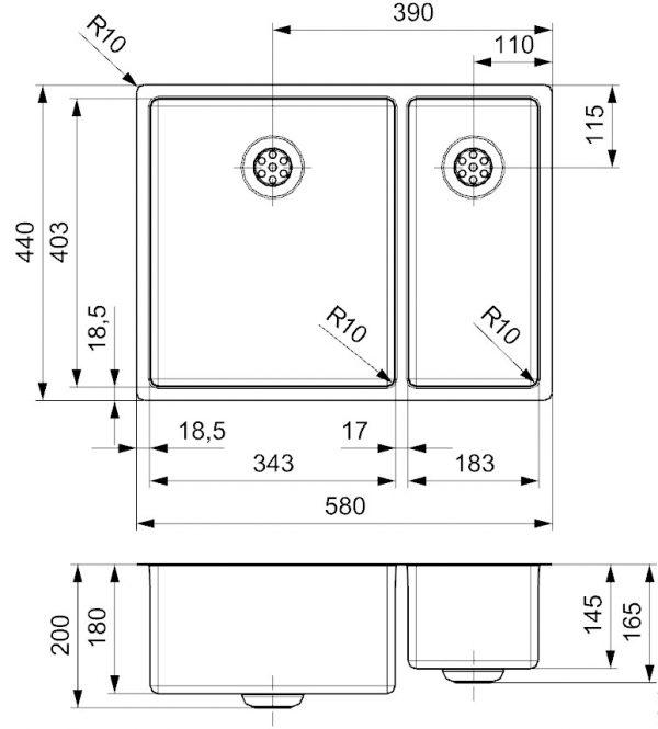 Reginox New York 34 X 40 +18 X 40 Rvs Anderhalve Spoelbak R27806 Vlakbouw Of Onderbouw