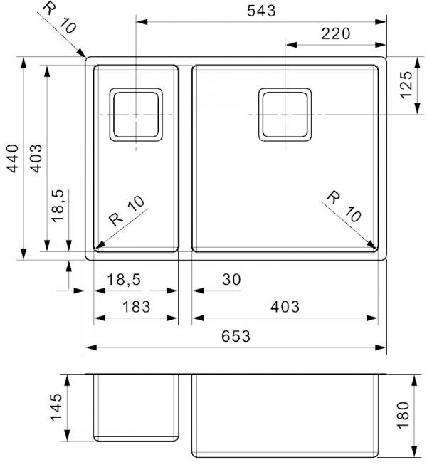 Reginox Texas Rvs Anderhlave Spoelbak 18 X 40 + 40 X 40 Vlakbouw Of Onderbouw