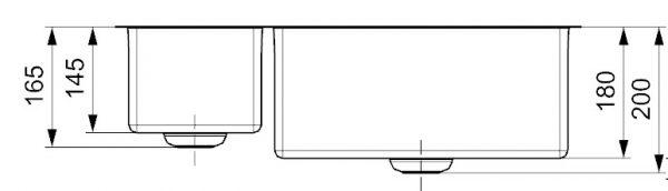 Reginox New York R27868 Anderhalve Rvs Spoelbak 18 X 40 + 40 X 40 Vlakbouw Of Onderbouw
