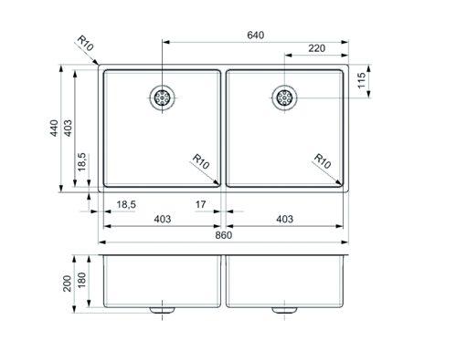 Reginox New York 40 X 40 + 40 X 40 Rvs Spoelbak R28254 Vlakbouw Of Onderbouw