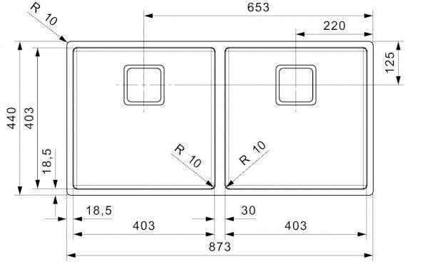 Reginox Texas 40 X 40 + 40 X 40 Rvs Spoelbak Vlakbouw Of Onderbouw