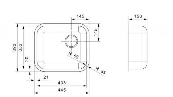 Reginox 40 X 35 Rvs Spoelbak Vlakbouw Of Onderbouw