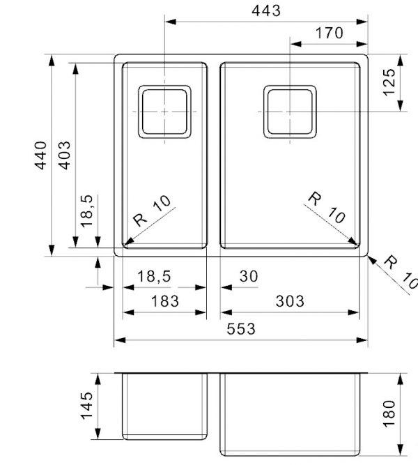 Reginox Texas 18 X 40 + 30 X 40 Rvs Anderhalve Spoelbak R28056 Vlakbouw Of Onderbouw