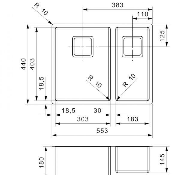 Reginox Texas 30 X 40 + 18 X 40 Anderhalve Rvs Spoelbak R28049 Vlakbouw Of Onderbouw
