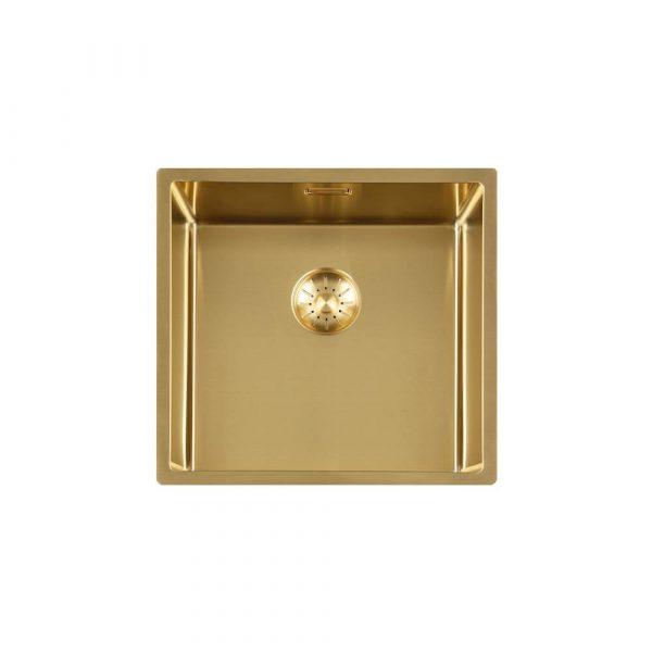 Lorreine 40 Sp Gold Spoelbak 40 X 40 Cm + Lorreine Keukenkraan Medway Of Mersey Goud