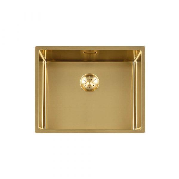 Lorreine 50 Sp Gold Spoelbak 50 X 40 Cm + Lorreine Keukenkraan Medway Of Mersey Goud