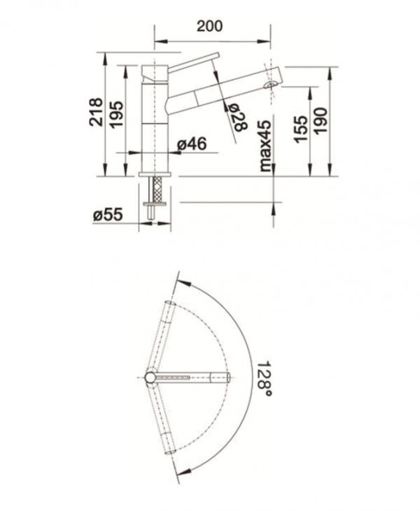 Blanco Alta-S Compact 518448 Eenhendel Keukenkraan Met Uittrekbare Handdouche Voor Lage Druk Chroom