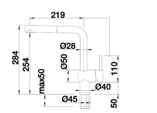 Blanco Linus-S 512200 Eenhendel Keukenkraan Met Uittrekbare Handdouche Voor Lage Druk Chroom