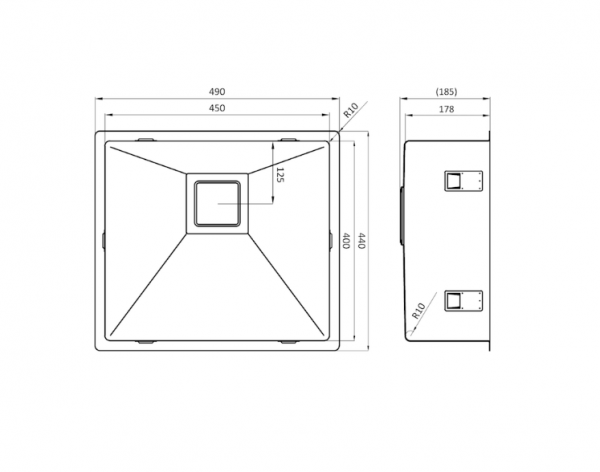 Lorreine 45Vk-Clr-White Spoelbak Wit Met Kantelbare Korfplug Vlakbouw-Opbouw-Onderbouw
