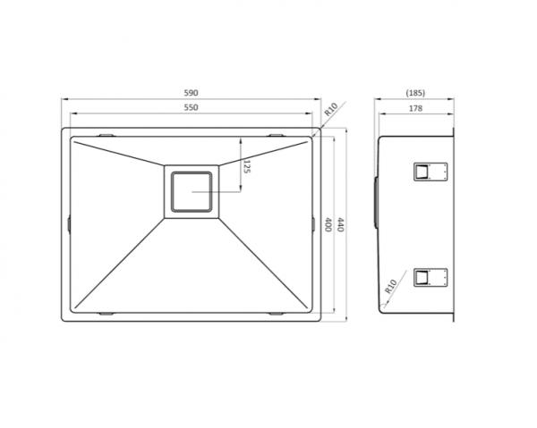 Lorreine 55Vk-Clr-White Spoelbak Wit Met Kantelbare Korfplug Vlakbouw-Opbouw-Onderbouw