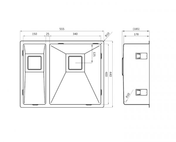 Lorreine 1534Vk-Clr-White Spoelbak Wit Met Kantelbare Korfplug