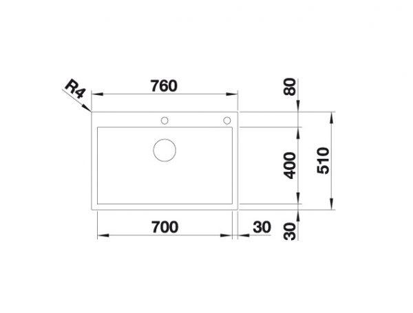 Blanco Zerox 700-If/a Durinox 523102 Spoelbak Rvs Inclusief Pushcontrol Bediening Vlakbouw Of Opbouw