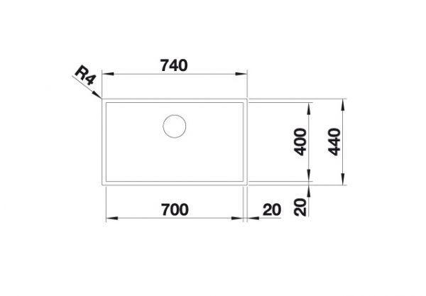 Blanco Zerox 700-If Durinox 523099 Spoelbak Rvs Vlakbouw Of Opbouw