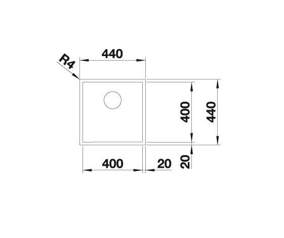 Blanco Zerox 400-U Durinox 521558 Spoelbak Rvs Onderbouw