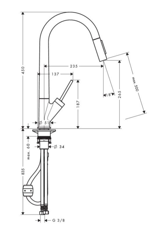 Axor Starck Special Eenhendel Keukenkraan 270 Met Uittrekbare Handdouche Volledig Rvs