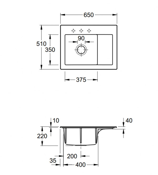 Villeroy & Boch Subway 45 Compact Spoelbak Keramiek Links Creme Opbouw