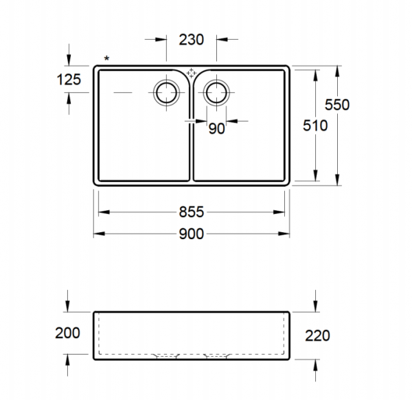 Villeroy & Boch 90 X Dubbele Spoelbak Keramiek Ebony Opbouw