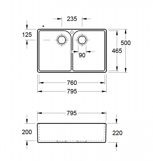 Villeroy & Boch 80 X Dubbele Spoelbak Keramiek Creme Opbouw