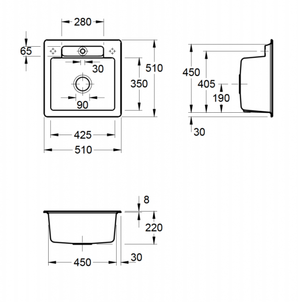 Villeroy & Boch Siluet 50 S Spoelbak Keramiek Graphit Omkeerbaar Opbouw