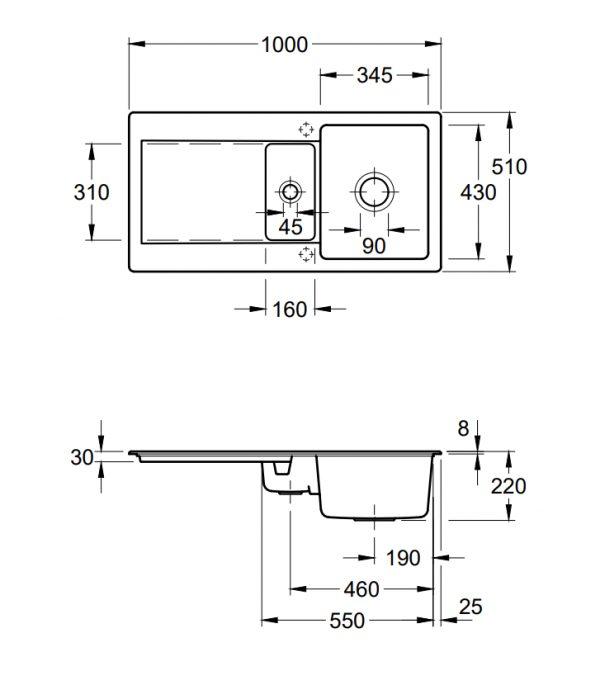 Villeroy & Boch Siluet 60 R Spoelbak Keramiek Creme Omkeerbaar Opbouw