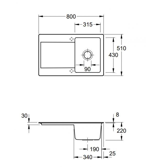 Villeroy & Boch Siluet 45 Spoelbak Keramiek Graphit Omkeerbaar Opbouw