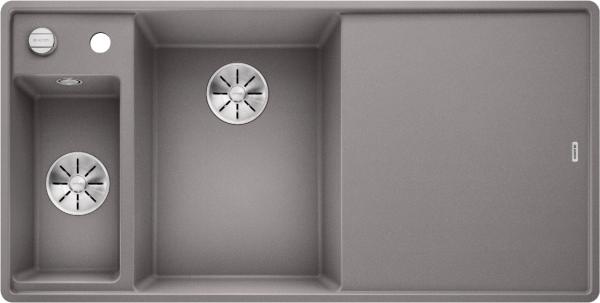 Blanco Axia Iii 6 S-F 524671 Spoelbak Links Silgranit Aluminium Metallic Inclusief Draaiknopbediening Inclusief Glazen Snijplank Vlakbouw Of Onderbouw