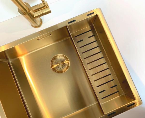 Lorreine 3415 Sp Gold Spoelbak Royal Serie Goud Anderhalve Onderbouw - Vlakbouw - Opbouw