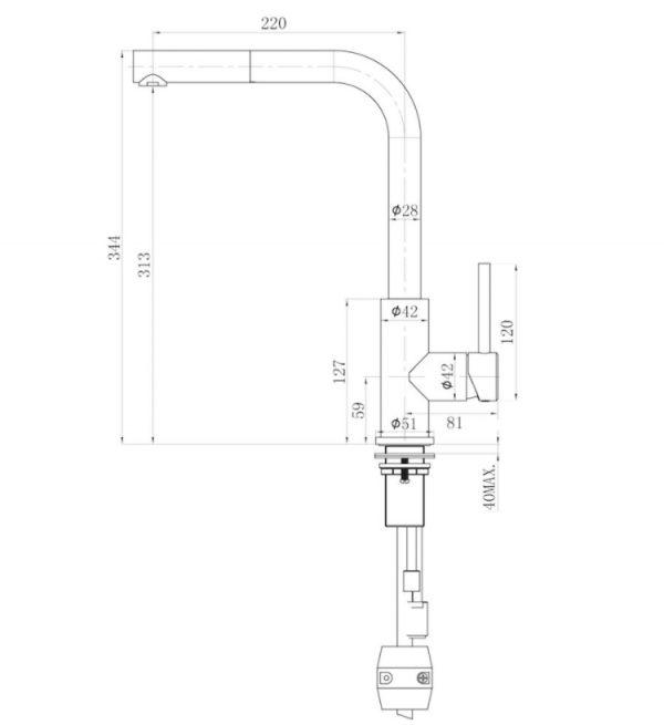Lorreine 40 Sp Copper Spoelbak 40 X 40 Cm + Lorreine Tweed Eenhendel Keukenkraan Met Uittrekbare Handdouche