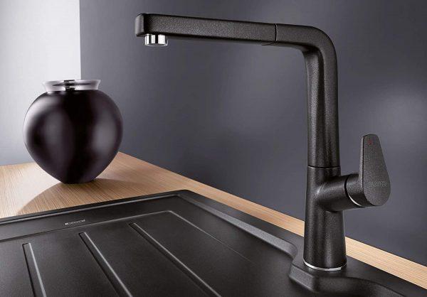 Blanco Avona-S 526170 Eenhendel Keukenkraan Silgranit Zwart Met Uittrekbare Handdouche Nieuwste Collectie Black Line