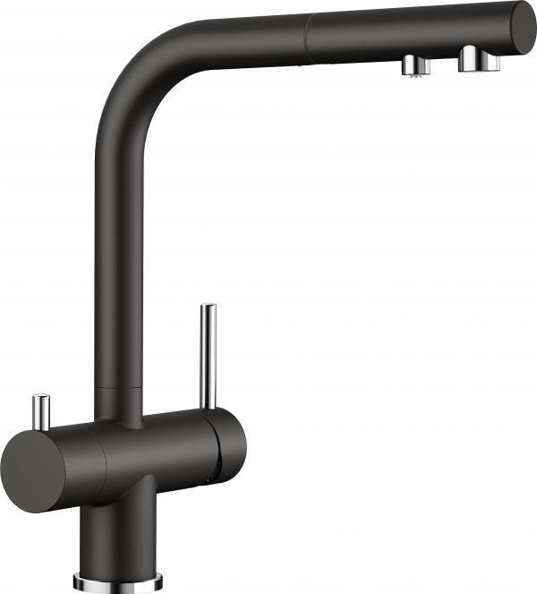 Blanco Fontas Ii S 526158 Eenhendel Keukenkraan Met Filtersysteem Silgranit Zwart Met Uittrekbare Handdouche Nieuwste Collectie Black Line