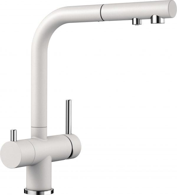 Blanco Fontas Ii S 525204 Eenhendel Keukenkraan Met Filtersysteem Silgranit Look Wit Met Uittrekbare Handdouche