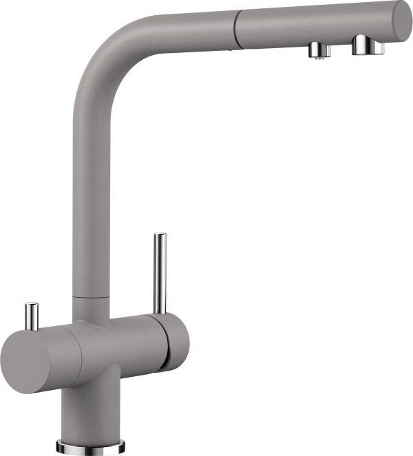 Blanco Fontas Ii S 525201 Eenhendel Keukenkraan Met Filtersysteem Silgranit Look Aluminium Metallic Met Uittrekbare Handdouche