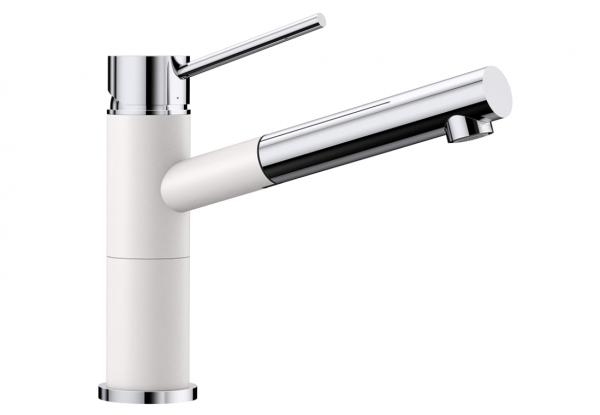 Blanco Alta-S Compact 515327 Eenhendel Keukenkraan Met Uittrekbare Handdouche Silgranit Look Wit
