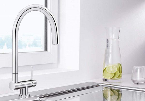 Blanco Coressa-F 521543 Eenhendel Keukenkraan Voor Raammontage Hendel Rechts Chroom