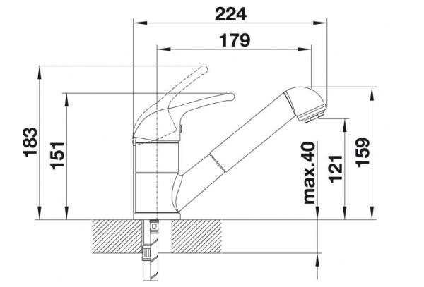 Blanco Vitis-S 520757 Eenhendel Keukenkraan Met Uittrekbare Handdouche Silgranit Look Parelgrijs