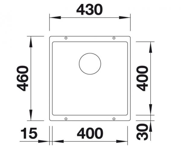 Blanco Subline 400-U 525990 Spoelbak Silgranit Zwart Onderbouw
