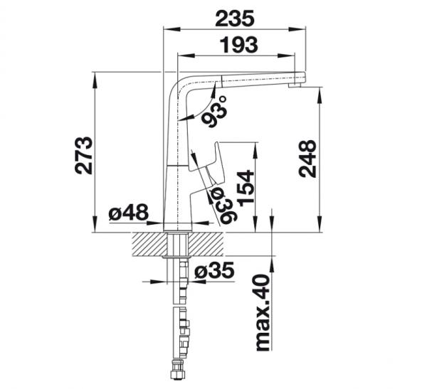 Blanco Avona-S 521285 Eenhendel Keukenkraan Met Uittrekbare Handdouche Silgranit Look Rots Grijs