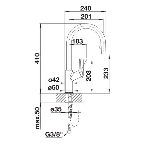 Blanco Carena-S Vario 521356 Eenhendel Keukenkraan Met Uittrekbare Handdouche Chroom