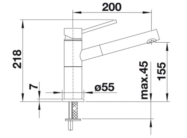 Blanco Alta-S-F Compact 518413 Eenhendel Keukenkraan Met Uittrekbare Handdouche Voor Raammontage Chroom
