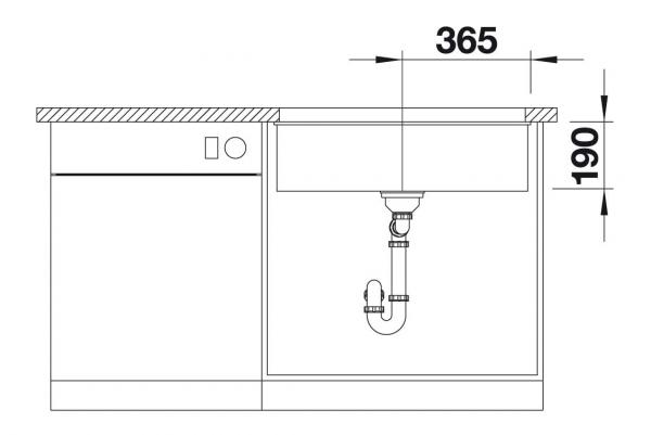 Blanco Subline 700-U 526001 Spoelbak Silgranit Zwart Onderbouw