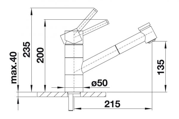 Blanco Tivo-S-F 518410 Eenhendel Keukenkraan Voor Raammontage Met Uittrekbare Handdouche Chroom