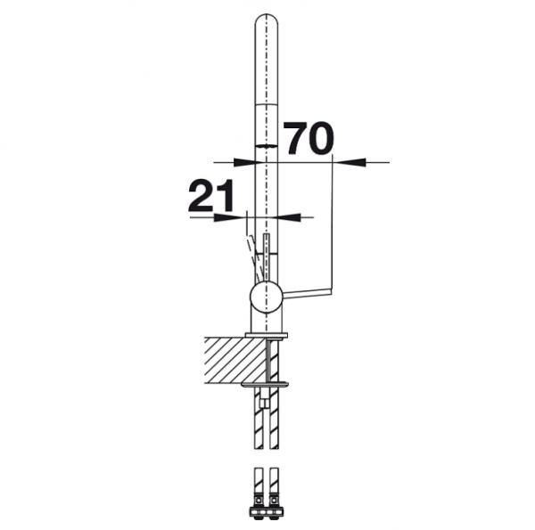 Blanco Coressa-F 521544 Eenhendel Keukenkraan Voor Raammontage Hendel Links Chroom