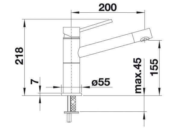 Blanco Alta Compact 526162 Eenhendel Keukenkraan Silgranit Zwart Nieuwste Collectie Black Line
