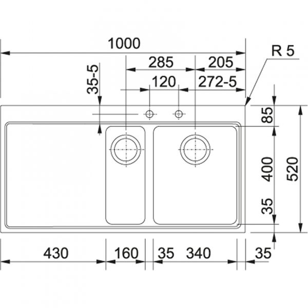 Franke Mmx 251 Br Rvs Spoelbak 127.0190.366 Vlakbouw – Opbouw Spoelbak