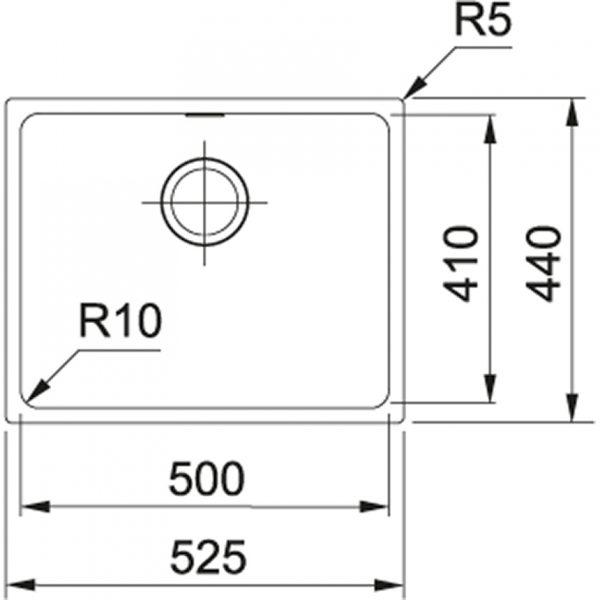 Franke Spoelbak Tectonite Sirius Sid 110.50 Polar White 125.0252.224 Graniet Look Onderbouw Spoelbak