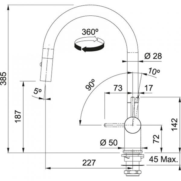 Franke Active Neo Gun Metal Keukenkraan 115.0554.568 Met Uittrekbare Handdouche