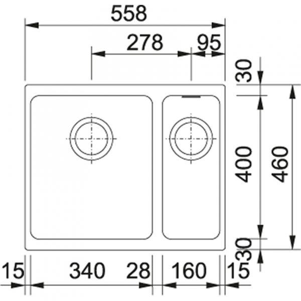 Franke Spoelbak Fragranite Kbg 160 Onyx 125.0176.635 Onderbouw Spoelbak