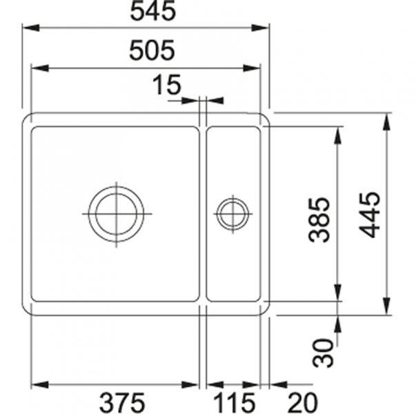 Franke Spoelbak Keramiek Kbk 160 Pearlgrey Mat 126.0335.714 Onderbouw Spoelbak